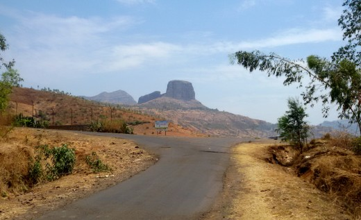 The road to Bramha Giri; one of the peaks is seen in the background