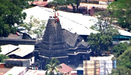Close shot of Trimbakeswar temple from Bramha Giri