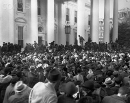 Crowds gather outside White House to greet Franklin  Roosevelt after his re-election