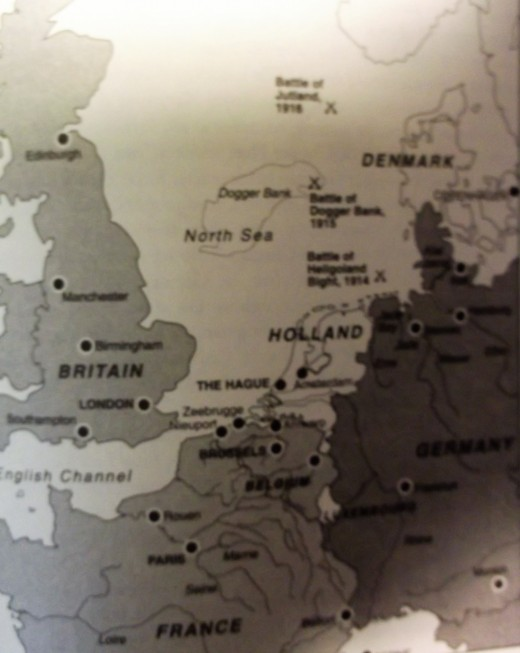 Jutland Bank off the coast of Denmark is at the top of this map.
