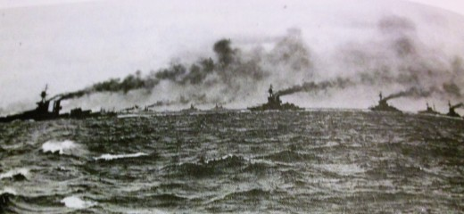 Warships of the German High Seas Fleet sail into the North Sea to confront the British at Jutland.