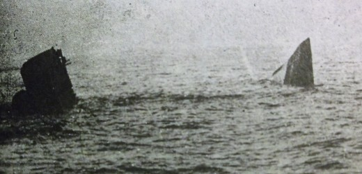 The British battlecruiser Queen Mary sinks after being hit by shells from the German Derfflinger. The sinking resulted from internal explosions of stored munitions.
