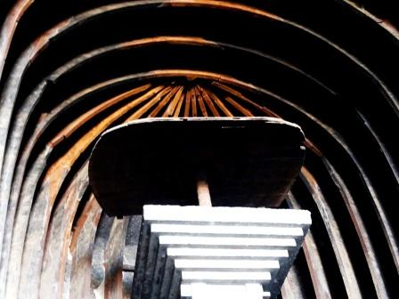 The wooden ribs on the roof of the Chaityagriha