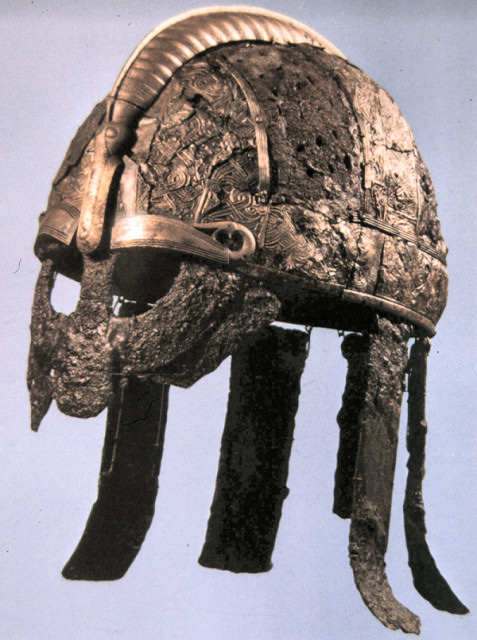 This is the Valsgarde helm found in a burial near Uppsala in Sweden, closer in style to the later Viking helms