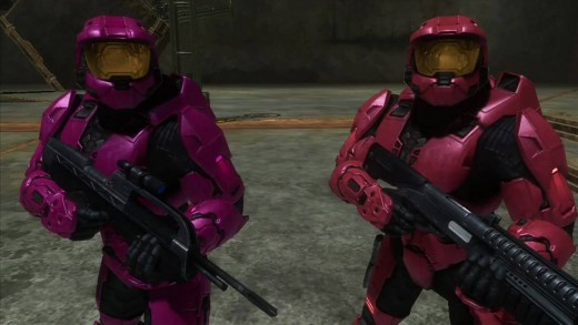 Why hello! My name is Sarge from the popular Web Series Red vs. Blue. And I'm Private Dick Simmons from the same show. Simmons is to the left, and Sarge is to the right.