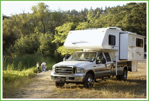 An example of a truck camper.  Also known as a slide-in camper.