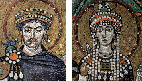 Mosaics of Justinian I and Empress Theodora - Basilica of San Vitale, Ravenna (Meister von San Vitale in Ravenna). Pre 547 AD / CE. Public domain. (Yorck Project)  Copyright held by Zenodot Verlagsgesellschaft mbH - GNU Free Documentation License