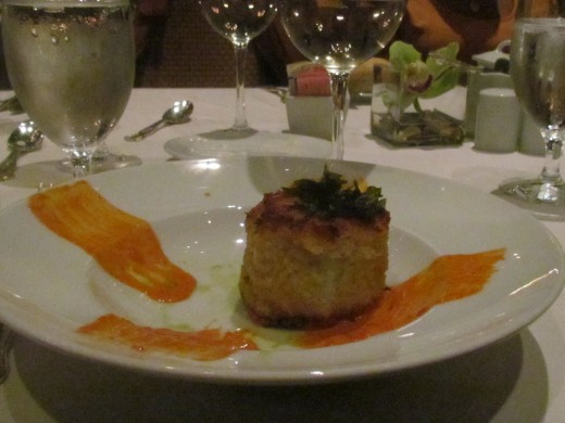 We started out with a delectable appetizer of a crab cake.