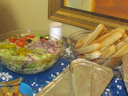 Delicious breadsticks and tossed salad were also included in the Olive Garden package.