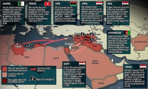 A map highlighting the occupation of ISIS, the terror group known as the Islamic State, in 2011.