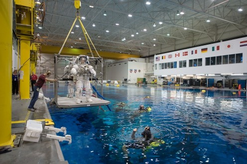 In this astronaut training photo, notice the US partner flags around the pool wall.