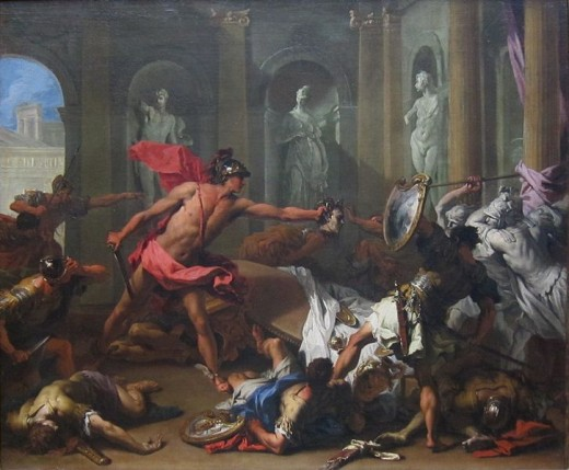Perseus Confronting Phineus with the Head of Medusa -   Sebastiano Ricci (1659–1734) - PD-art-100