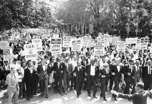 Martin Luther King Jr. leads the March on Jobs, August 1963, in Washington D.C.