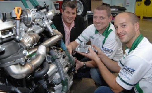 The University of Warwick responsible for the chocolate powered Formula 3 car. From left, Dr Steve Maggs, Dr Kerry Kirwan and Dr James Meredith