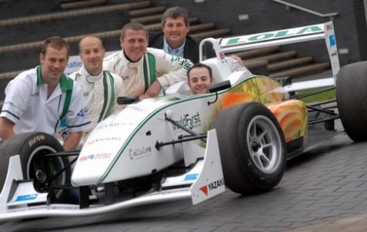 Proud parents of the chocolate powered Formula 3 racing car get set for a spin