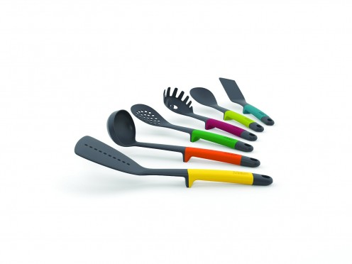 6 different pieces of kitchen utensils in various colors