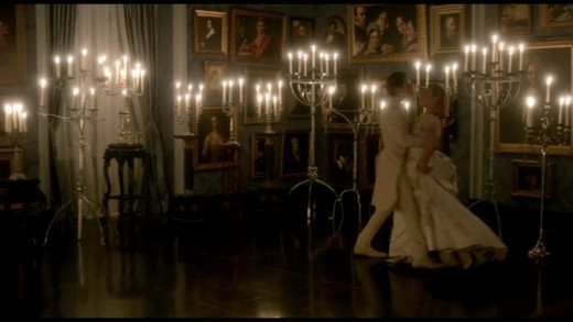 Screenshot from Penny Dreadful - Dorian Gray dances with Lilly