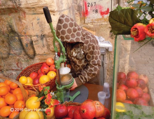 Jerusalem Street Vendor Making Pomegranate Juice