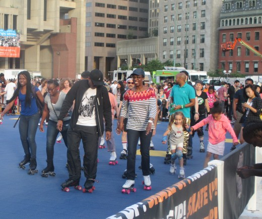 Bostonians enjoying the Donna Summer Disco Skate- Photo by George Sommers