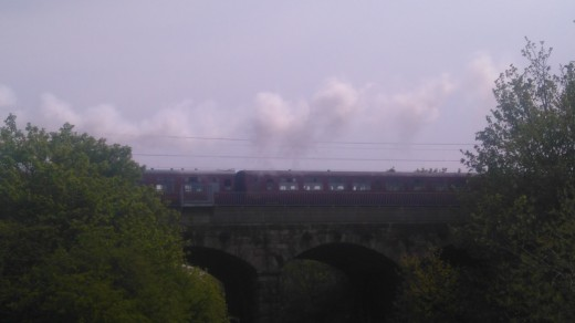 train crossing the 5 Arches, a main line bridge just North of the Skerne Bridge.