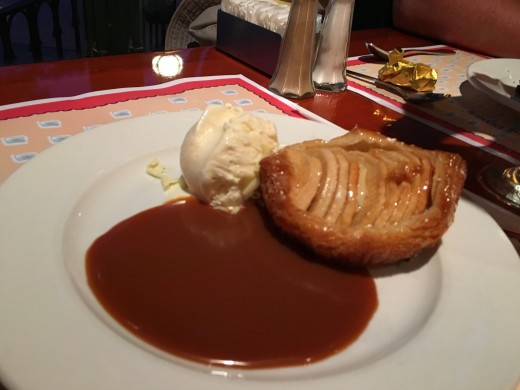 The apple tart, served with vanilla ice cream and caramel sauce.