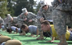 Cadets performing push-ups under close supervision.