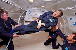 Stephen Hawking is seen here with NASA getting to experiences space life while floating and seeming to enjoy the experience all the while.