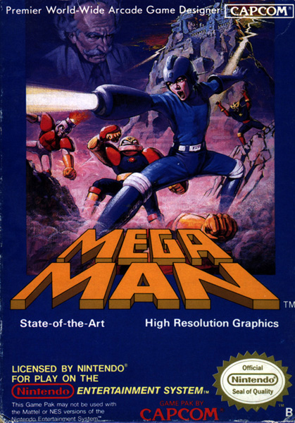 Box art for the PAL Region version of Mega Man / Rock Man