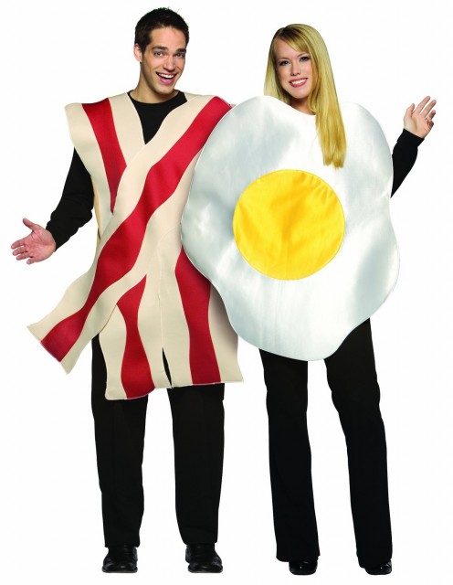 This outfit is perfect for couples who have fond memories of eating together and/or who love bacon and eggs