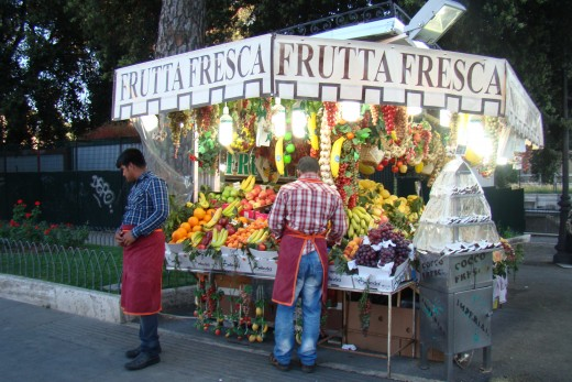 Fresh fruit vendor at Rome