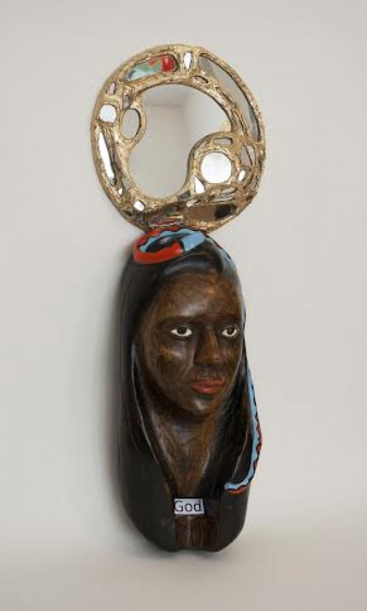 """""""GOD""""; Carved Wood, Mirror, Glass and Gold leaf; 20in x 10in x 7in."""