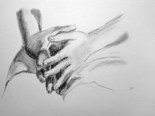 Charcoal drawings of hands.  #30