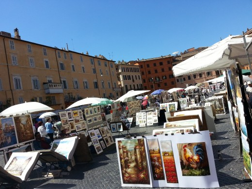 Paintings for sale at Piazza Navona