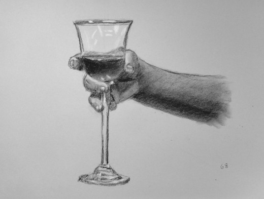 Charcoal drawing of a hand.  #68