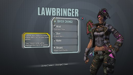 From Borderlands The PreSequel, Nisha in her best skin option