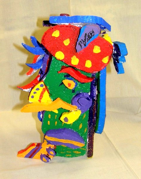 Student work:  Styrofoam sculpture created in the Cubist style of Picasso
