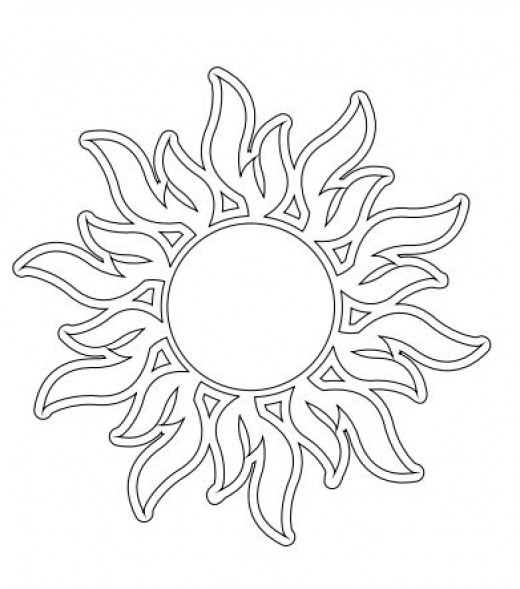 Flames Sun Embroidery Pattern