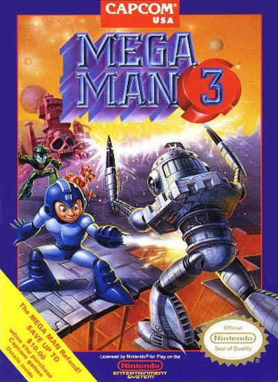 Box art for the US version of Mega Man 3 / Rock Man 3