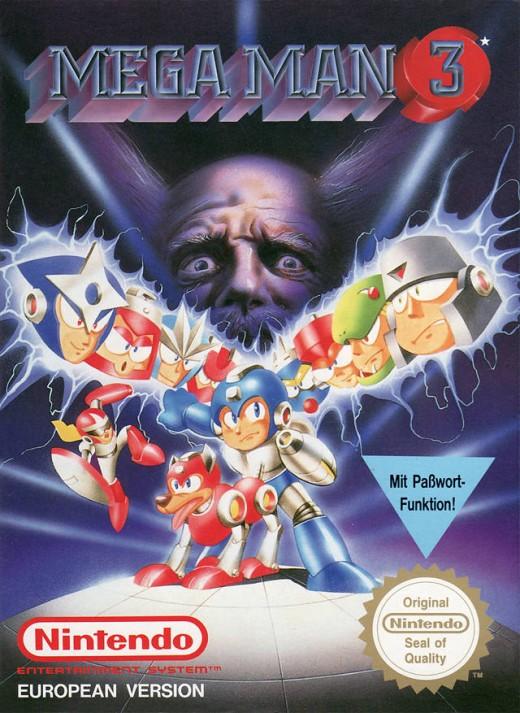 Box art for the PAL Region version of Mega Man 3 / Rock Man 3