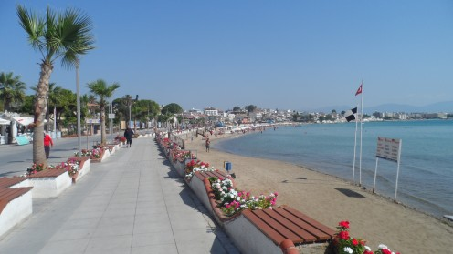 Altinkum beach and promenade, Turkey. Great for walking and spotlessly clean .