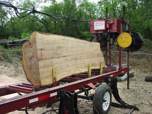 Portable sawmill...(noisy in forest)