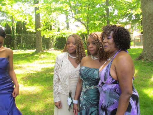 Kasia, the bride's cousin, auntie Claudette and mother of the bride Paulette.