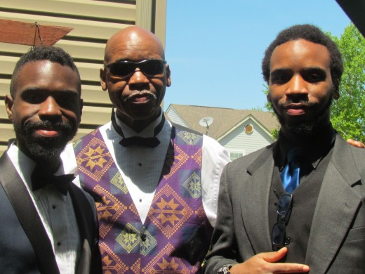 The bride's stepfather Jerry and her brothers Emmanuel and Joel Blake, were astute for the occasion.