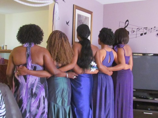 The bridesmaids join together with a quick photo from the back.