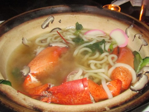The second way lobster was prepared was a type of Pho like dish with a whole lobster and rice noodles as well as vegetables.