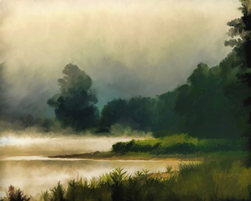 Mist hovering in the sky, among the trees, and above the water.