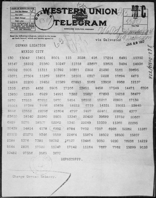 The Zimmerman Telegram, a German proposal to Mexico to help Mexico gain back land lost in the Mexican-American war if it helped Germany if America entered the war.