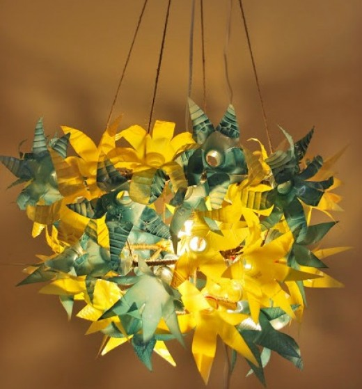 plastic bottle chandelier instructions
