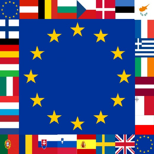 The Flag of the European Union in blue surrounded by member state flags.