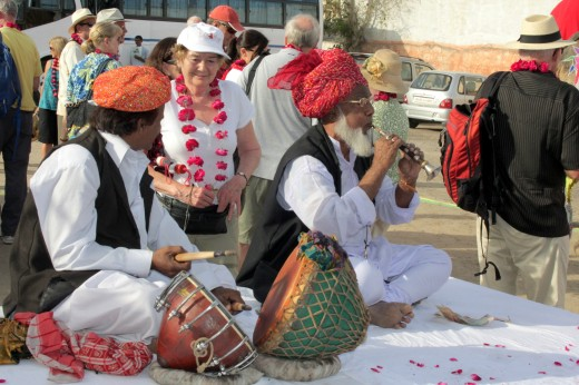 A band of folk artist welcoming guests of the Palace on Wheels